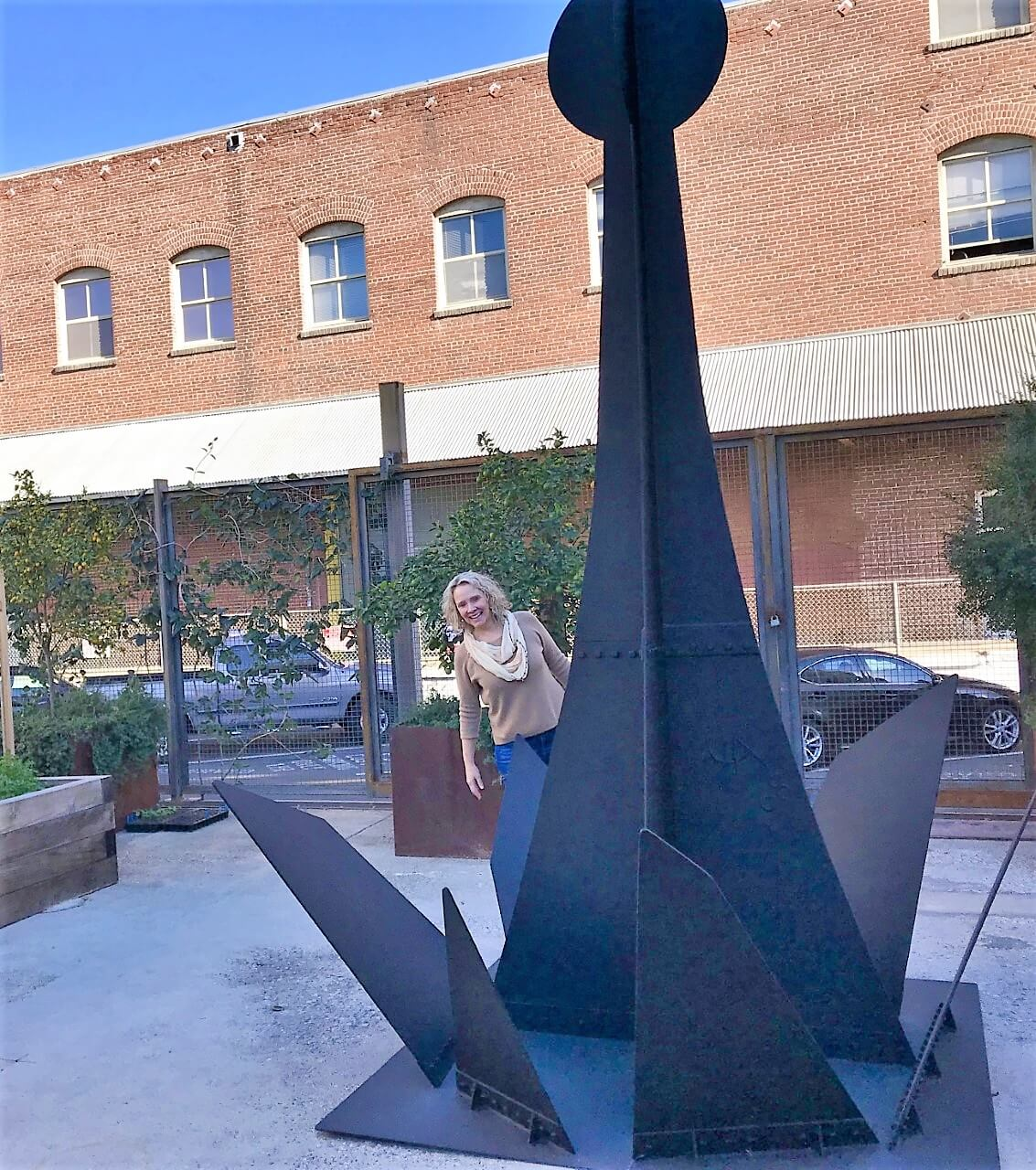 Wendy in the garden at Hauser and Wirth